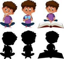 conjunto de um menino personagem de desenho animado em diferentes posições com sua silhueta vetor