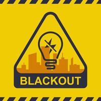 ícone de blecaute em um plano de fundo da cidade. falta de energia. ilustração vetorial plana. vetor