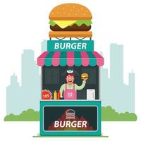 uma barraca na rua que vende hambúrgueres tendo como pano de fundo a cidade. vendedor oferecendo fast food. ilustração vetorial plana. vetor