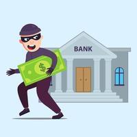 o criminoso com dinheiro sai correndo do banco que roubou. ilustração em vetor personagem plana.