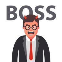 chefe zangado com chifres. rosto descontente de um homem de terno. ilustração em vetor personagem plana.