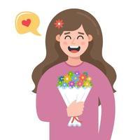 uma jovem foi presenteada com um buquê de flores. um presente de seu namorado. ilustração em vetor personagem plana.