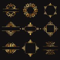 Elementos decorativos de design de ouro vetor