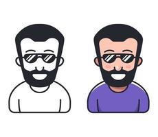 um homem com barba e óculos escuros. ilustração em vetor personagem plana.