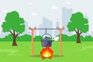 Cozinhe em fogo na floresta. cozinhar alimentos em potes. ilustração vetorial plana. vetor