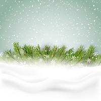 Fundo de Natal com neve e árvore de abeto vetor