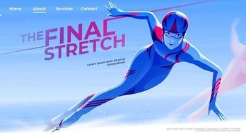 ilustração vetorial para interface do usuário ou uma página de destino no tema de patinação de velocidade da atleta de skate saindo da curva para a reta final. vetor