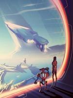 uma mulher e um robô olhando pela janela que tem uma enorme nave estelar voando e um cenário urbano em outro planeta. vetor