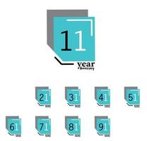 ano aniversário vector template design ilustração caixa azul elegante fundo branco