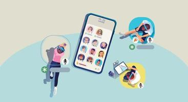 as pessoas usam fones de ouvido para ouvir smartphones, a tela mostra o status das pessoas usando aplicativos de redes sociais, aprendendo ou se reunindo online vetor
