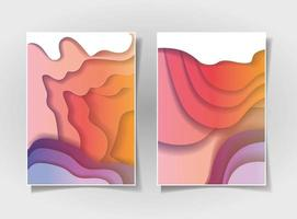 Conjunto de fundo de ondas laranja e roxo vetor