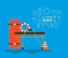 Banner de salva-vidas com maca de ambulância com bóia e cone vetor