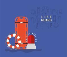 Banner de salva-vidas com maca de ambulância com bóia e sirene vetor