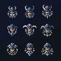 desenho do logotipo do pacote vikings metálico vetor