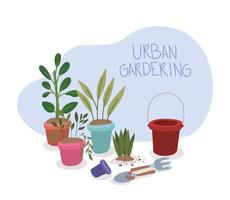 jardinagem interna com vasos de plantas vetor