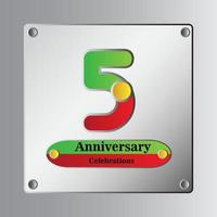 Ilustração de design de modelo vetorial de aniversário de 5 anos vetor