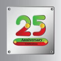 Ilustração de design de modelo vetorial de aniversário de 25 anos vetor