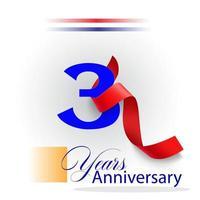 Ilustração de design de modelo vetorial celebração de aniversário de 3 anos vetor