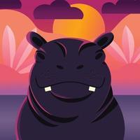 retrato colorido de fundo por do sol de hipopótamo fofo. desenhado à mão animal selvagem. hipopótamo.