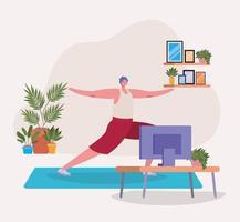 homem fazendo ioga em casa vetor