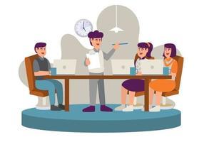 trabalhadores de escritório sentados à mesa redonda e discutindo ideias. conceito de ilustração vetorial de fluxo de trabalho de negócios, gerenciamento de tempo, planejamento, aplicativo de tarefas, trabalho em equipe, reunião. design plano de personagem de desenho animado vetor