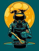 astronauta está cozinhando a ilustração do ícone do vetor dos desenhos animados. um chef cosmonauta profissional está preparando comida no espaço ao sol. impressão de camisetas e outro design de roupas da moda