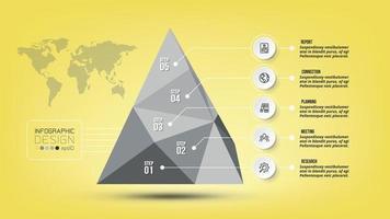 infográfico de pirâmide de conceito de negócio com etapa ou opção. vetor
