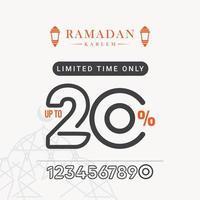 desconto de venda no ramadã até 20 por tempo limitado apenas ilustração de design de modelo vetorial vetor