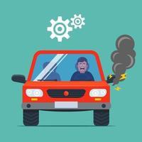 o carro quebrou e fumegou. motorista chateado. ilustração vetorial plana. vetor