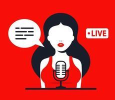 garota grava um podcast. trabalhar no rádio. ilustração em vetor personagem plana.