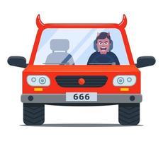 motorista louco em um carro do diabo. direção agressiva. ilustração vetorial de personagem plana vetor