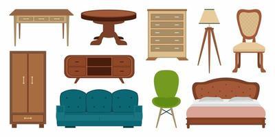 Móveis vintage elegantes e confortáveis e decorações para casa modernas combinam com o estilo de desenho animado da moda. coleções de elementos de vetor plana de design de interiores isolados em um fundo branco. ilustração vetorial
