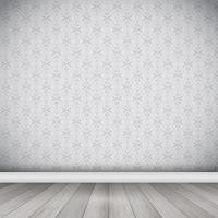 Interior com piso de madeira contra papel de parede do damasco vetor