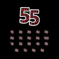 55 aniversário celebração bolha número vermelho ilustração vetorial modelo de design
