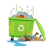 lata de lixo suja e fedorenta em um fundo branco. ilustração vetorial plana. vetor