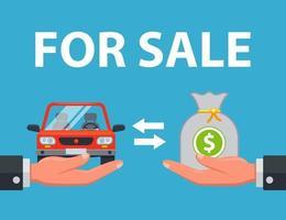 o vendedor vende o carro ao comprador por dinheiro. ilustração vetorial plana. vetor