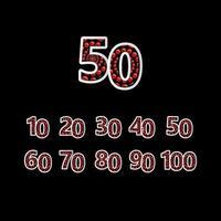 50 º aniversário de comemoração bolha número vermelho ilustração vetorial modelo de design