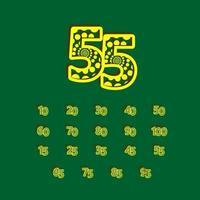 55 aniversário celebração bolha número amarelo ilustração vetorial modelo de design