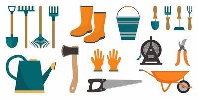 conjunto de ferramentas de jardim. ícones de instrumento para ancinho de horticultura, pá, equipamento de rega, tesoura, semente, planta, podador. coleção isolada, fundo branco. ilustração em vetor plana dos desenhos animados