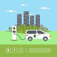 Estacionamento de carregamento de carro elétrico moderno suv inteligente na estação do carregador com um cabo plug-in. vetor