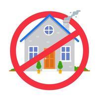 símbolo de casa riscado. proibição de entrada no edifício. ilustração vetorial plana. vetor