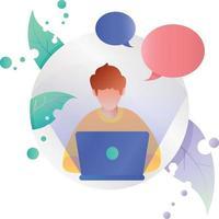 Ilustração do ícone do local de trabalho e mensagens de programação de laptop no quadro do círculo vetor