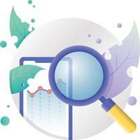 ilustração do ícone de pesquisa de finanças em círculo vetor