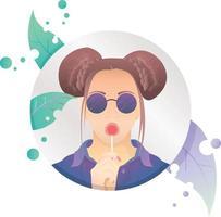 retrato menina mulheres linda ilustração ícone de pirulito na moldura do círculo vetor