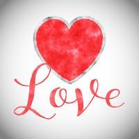 Fundo de coração em aquarela para dia dos namorados vetor