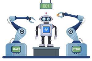 esteira mecanizada para montagem do robô. ilustração em vetor personagem plana.