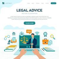 conceito de aconselhamento jurídico online. direito do trabalho, advogado, procurador. site do advogado na tela do laptop. consultoria jurídica profissional online, assistência jurídica em negócios. vetor