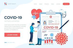 diagnóstico médico - coronavírus 2019-ncov. conceito médico de covid-19. médico cuidando do paciente. sintomas do coronavírus. infecção pulmonar. perigoso risco de pandemia do vírus corona. vetor