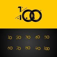 100 anos de celebração de aniversário gradiente número amarelo ilustração vetorial modelo