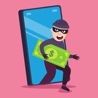 fraude telefônica. um criminoso rouba dinheiro do seu smartphone. ilustração vetorial plana. vetor